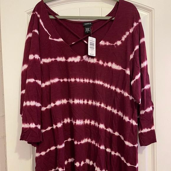 Burgundy Tie Dye Top